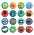 Movie Icons Flat Set vector image