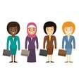 Businesswomen characters of different ethnicity in vector image