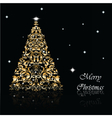 Christmas Tree set in goldon black vector image