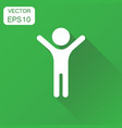 happy man with hands up icon business concept vector image