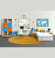 Teenager Room Interior Design Realistic Image vector image
