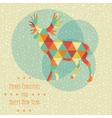 Vintage christmas card with reindeer snowflakes vector image