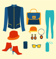 woman clothing fashion set clothing and accessorie vector image