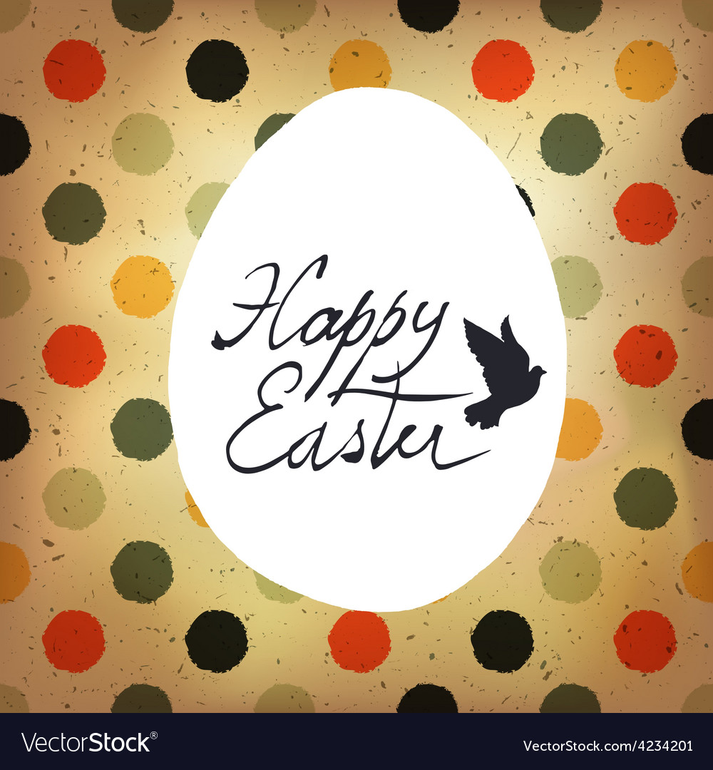 Easter polka dot retro card vector