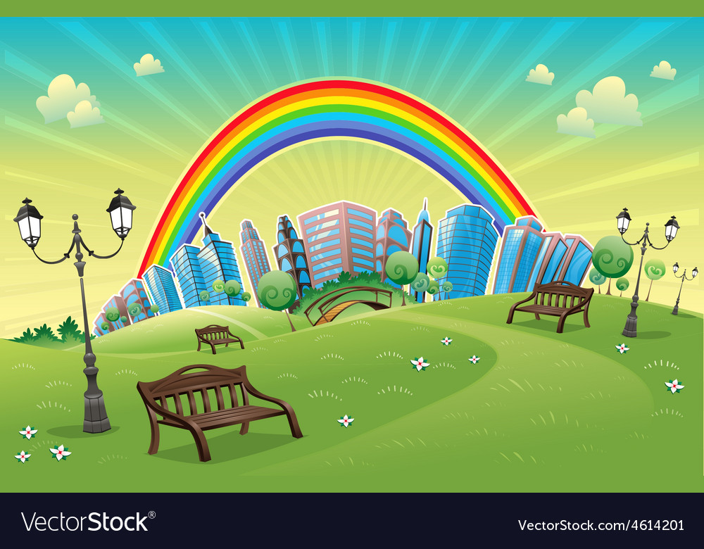 Park with rainbow vector