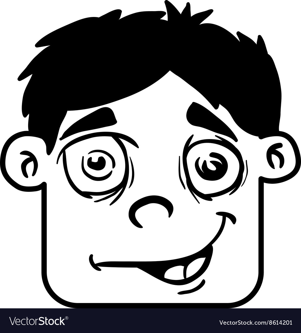 Simple black and white smiling boy head cartoon vector