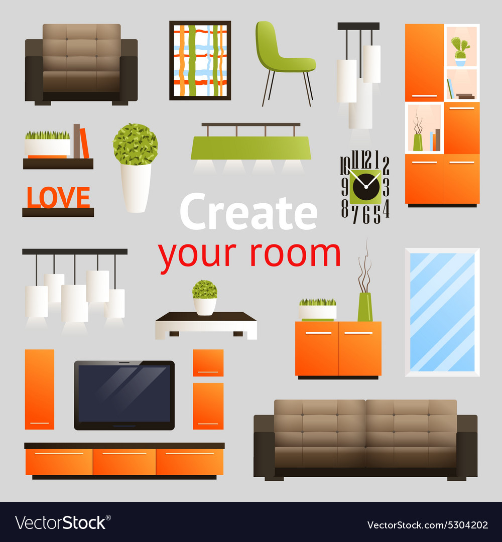 Furniture objects set vector