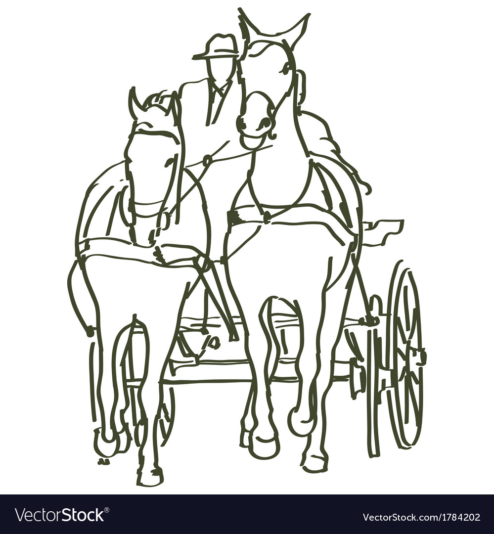 Hand drawn horses vector