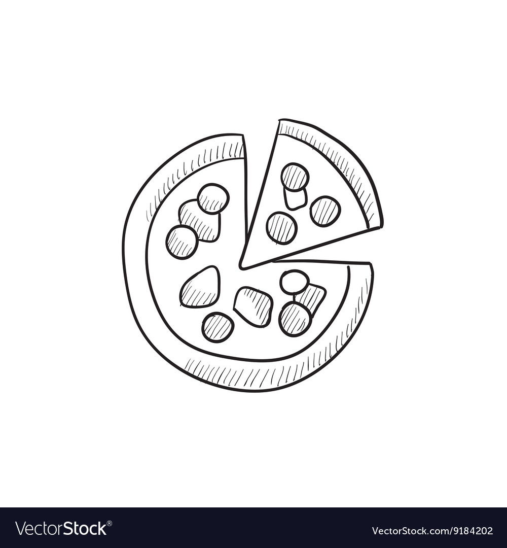 Whole pizza with slice sketch icon vector