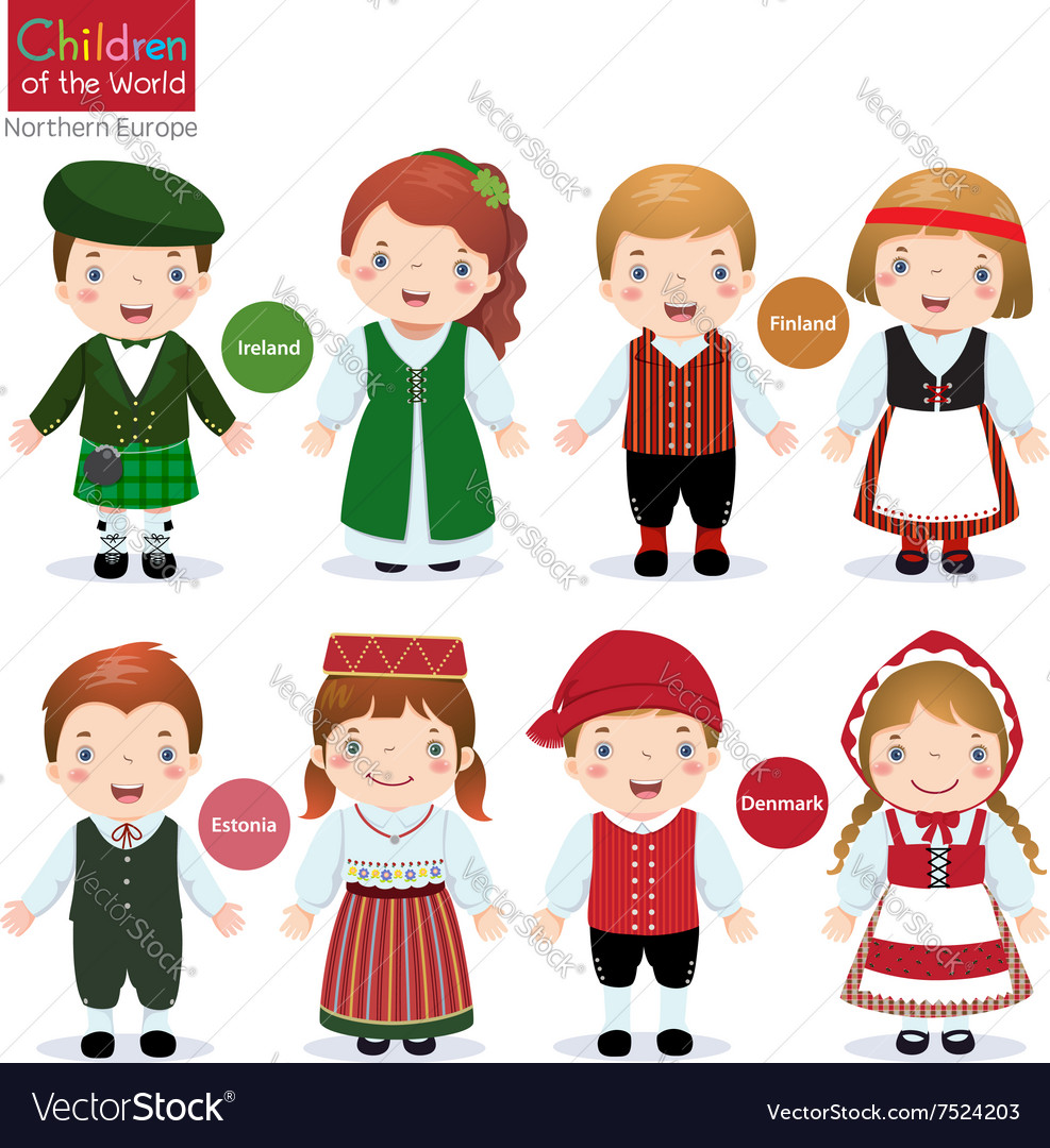 Children of the world ireland finland estonia vector