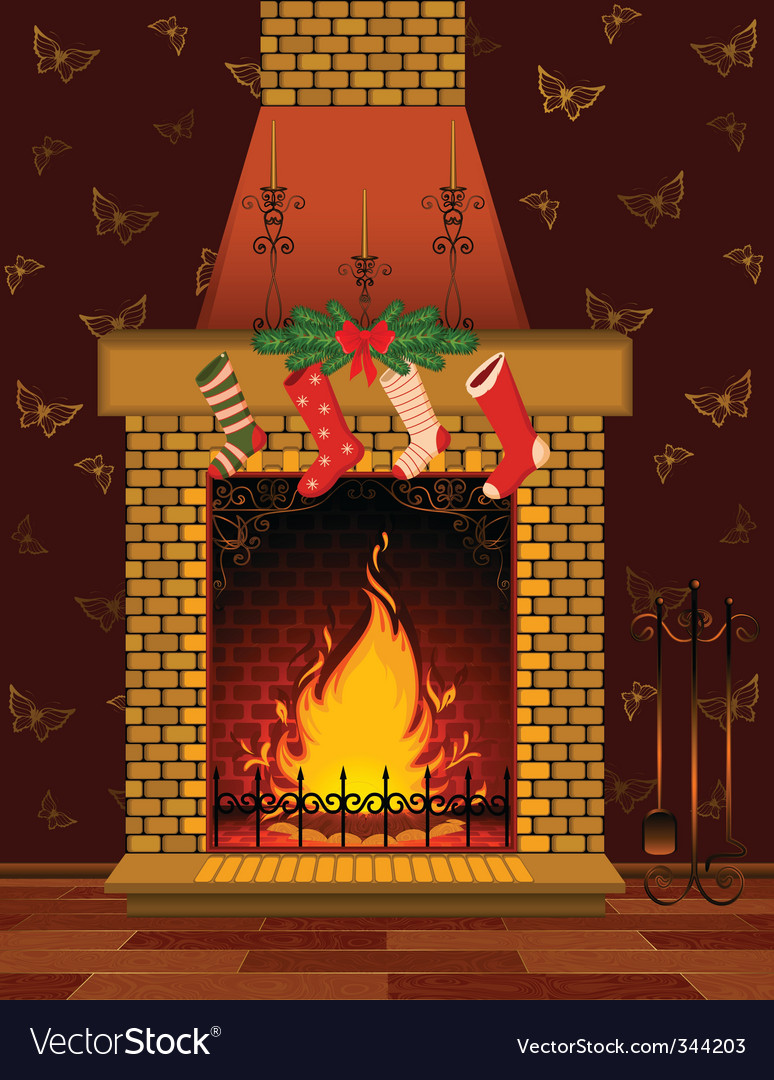 Christmas fireplace scene vector