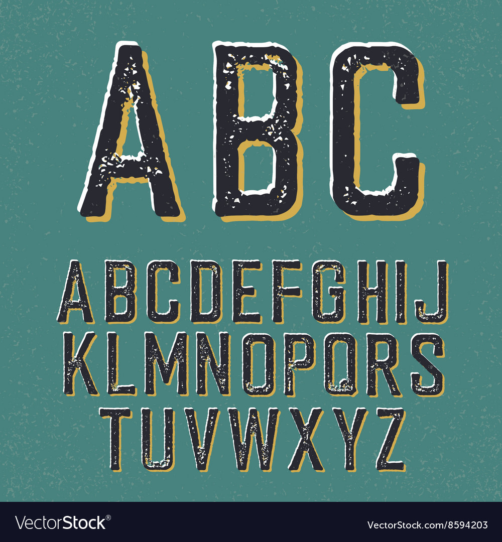 Vintage retro typeface stamped alphabet with vector
