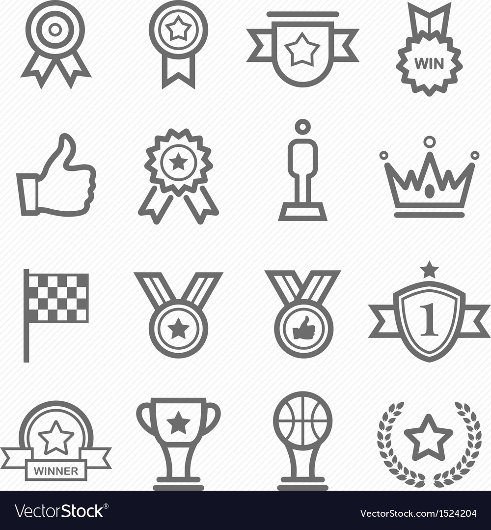 Trophy and prize symbol line icon set vector