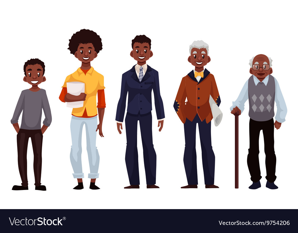 Black men of different ages from youth to maturity vector