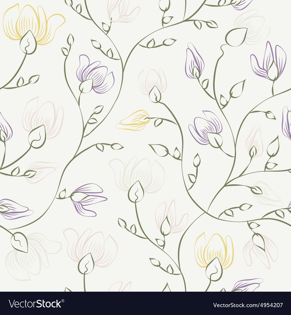 Floral print seamless background vector