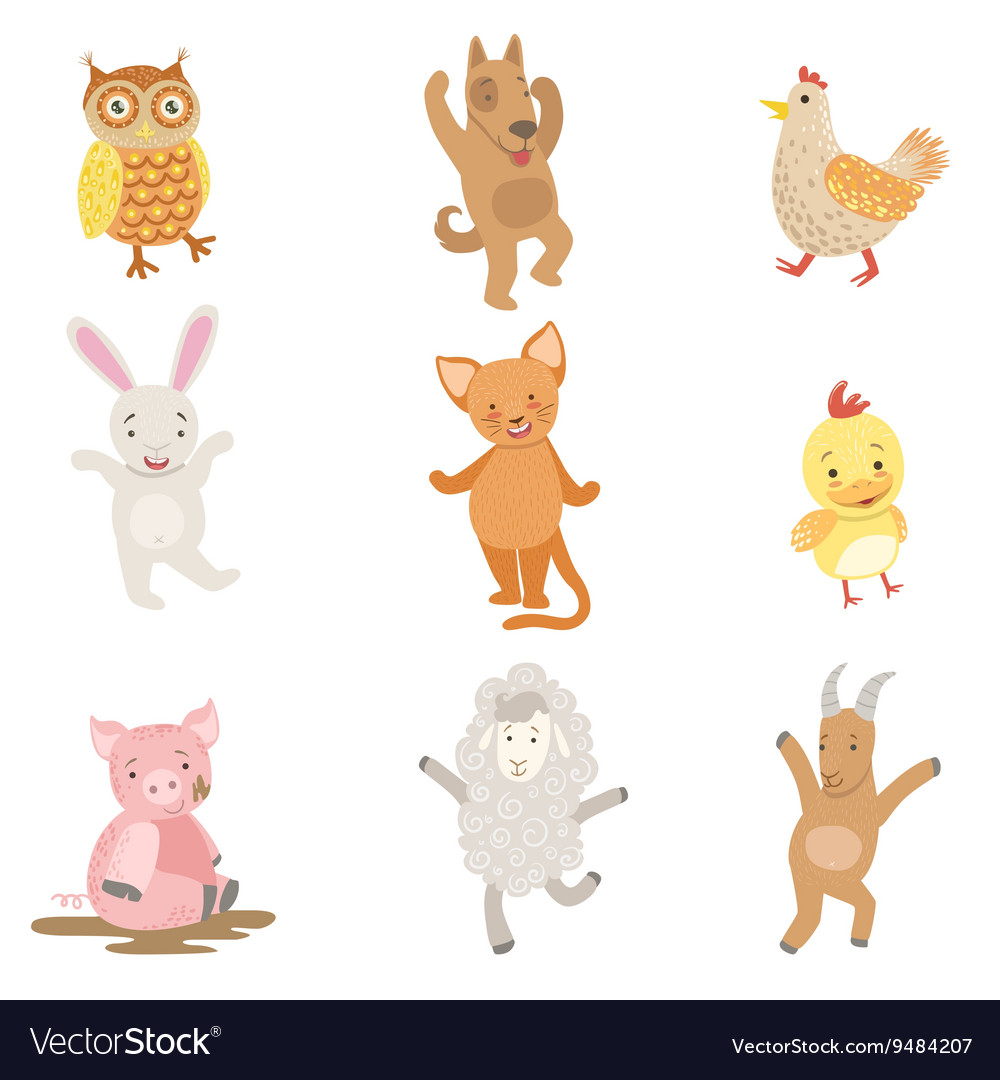 Humanized animals collection of artistic funny vector