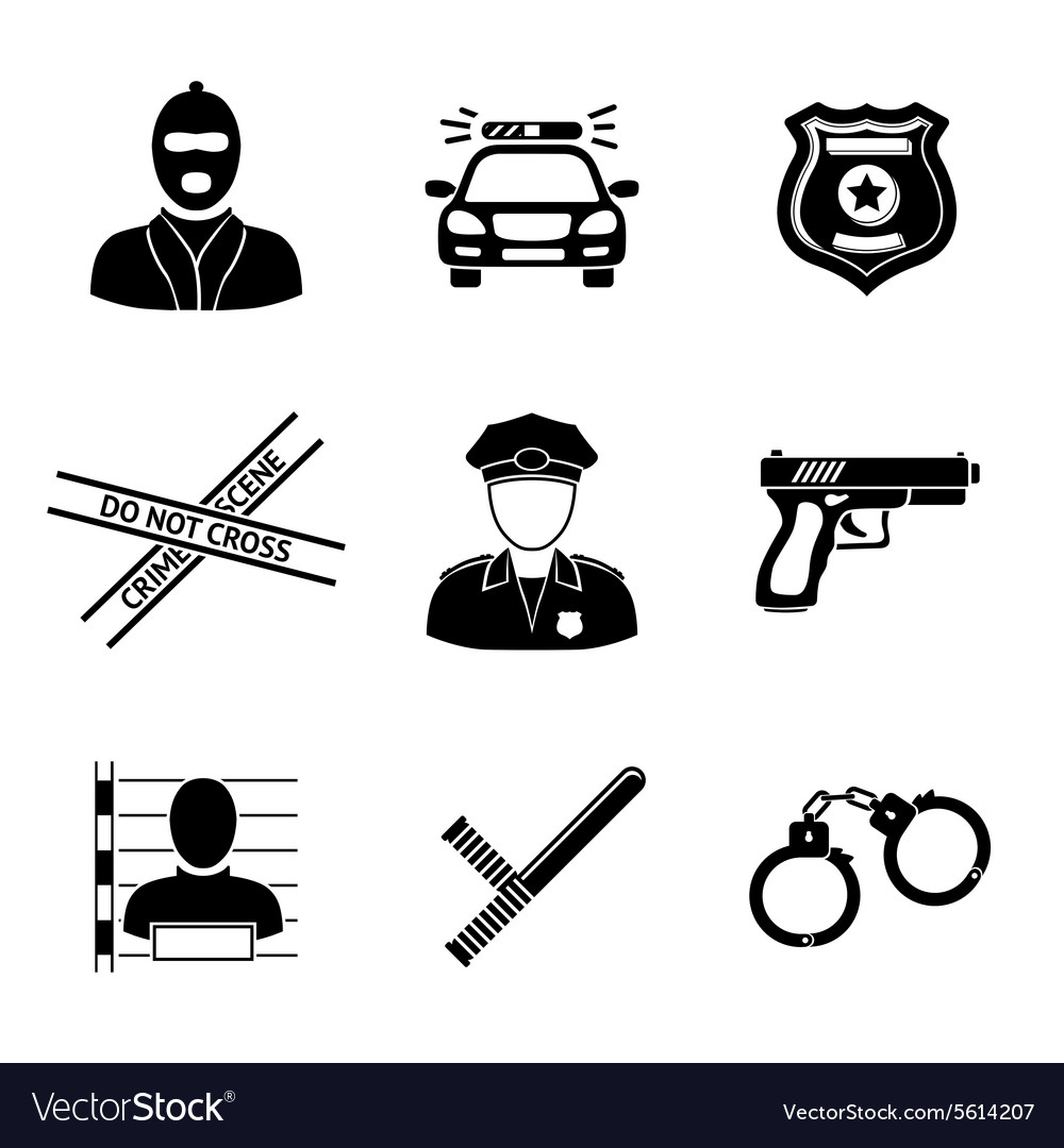 Set of monochrome police icons  gun car crime vector
