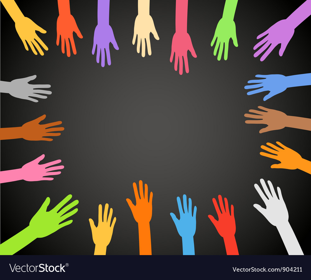 Color hands frame on black background vector
