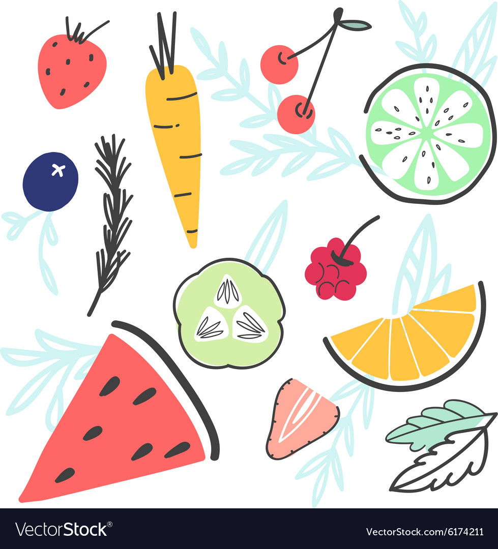 Doodle handdrawn food set with various fruit and vector
