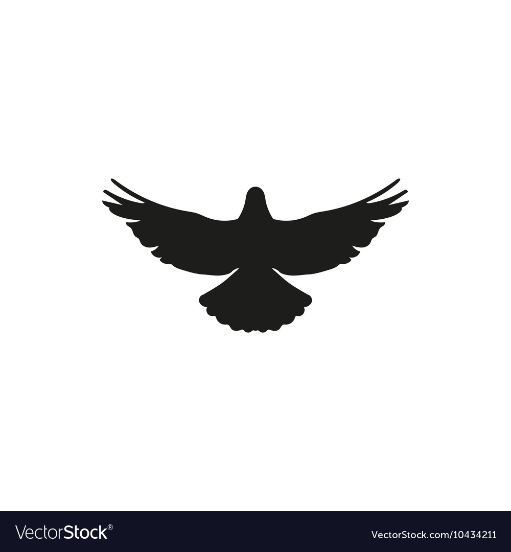 Flying bird silhouette on white background style vector