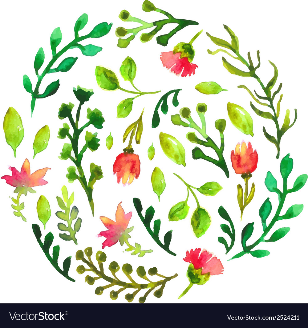 Natural floral circle background with green leaves vector