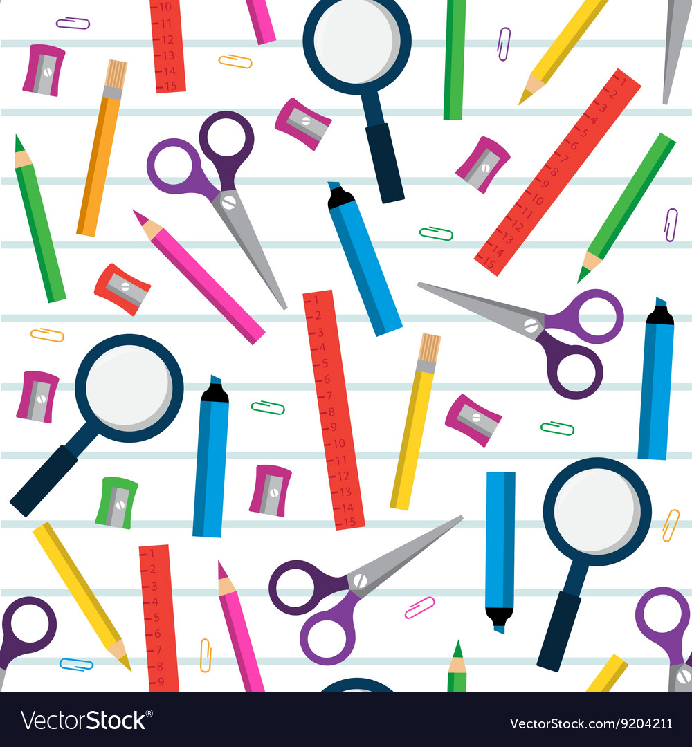 Seamless pattern with stationery items vector