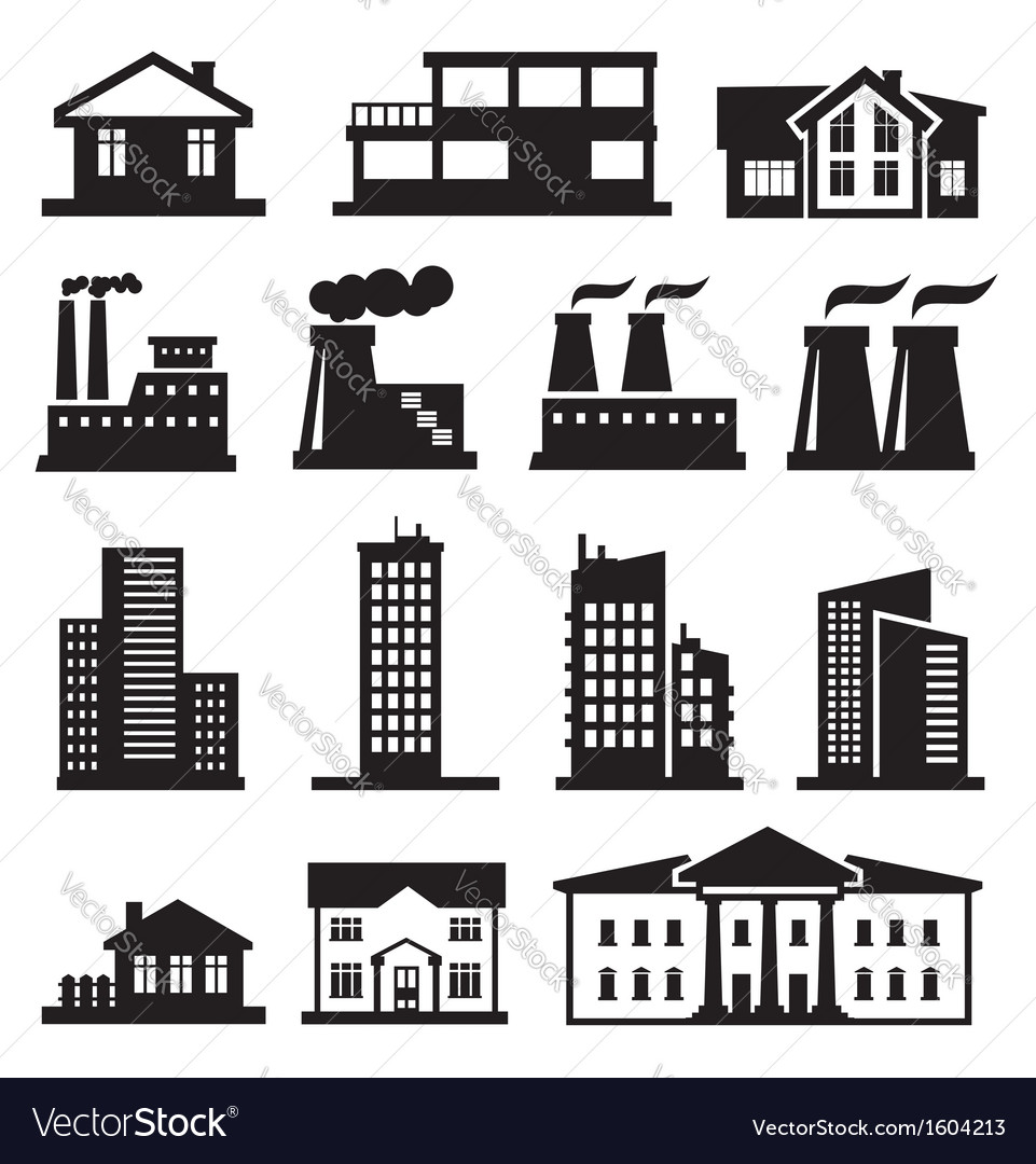 Buildings and factories vector