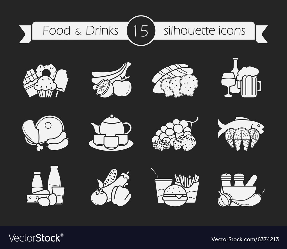Food and drinks silhouette icons set chalk vector