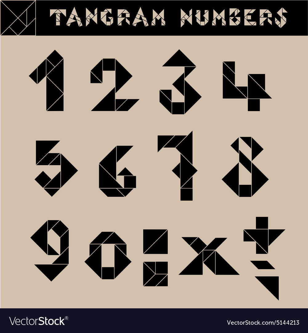 Tangram numbers black vector
