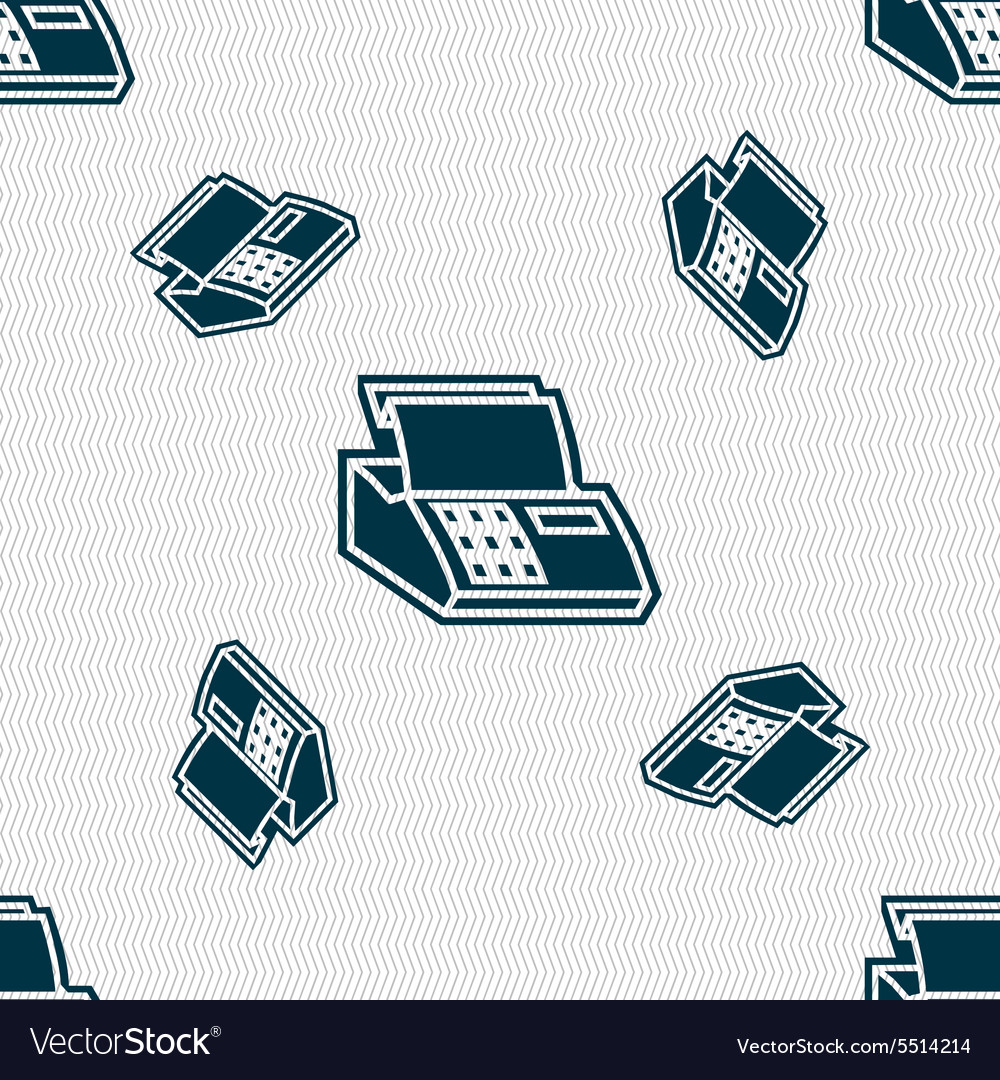 Cash register machine icon sign seamless pattern vector