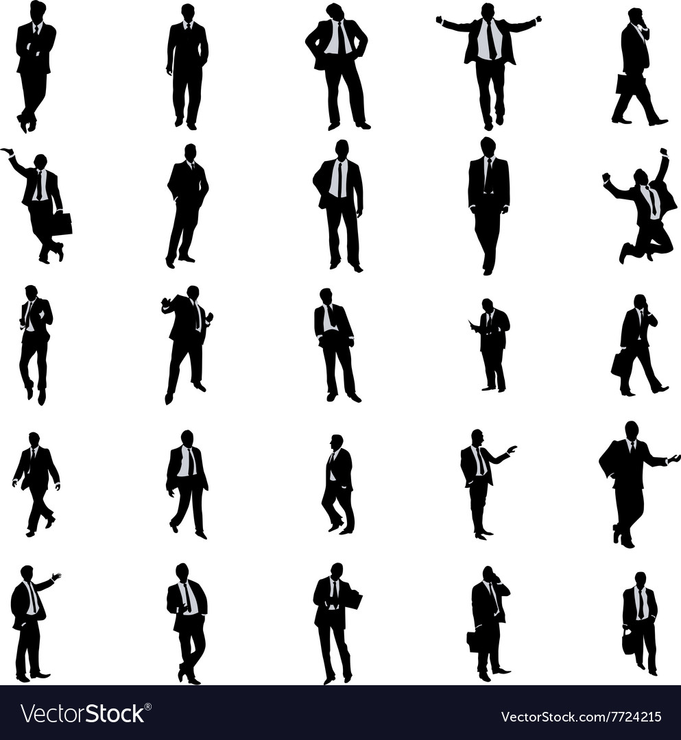Business people silhouette set vector