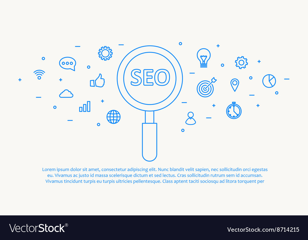 Seo thin blue line design vector
