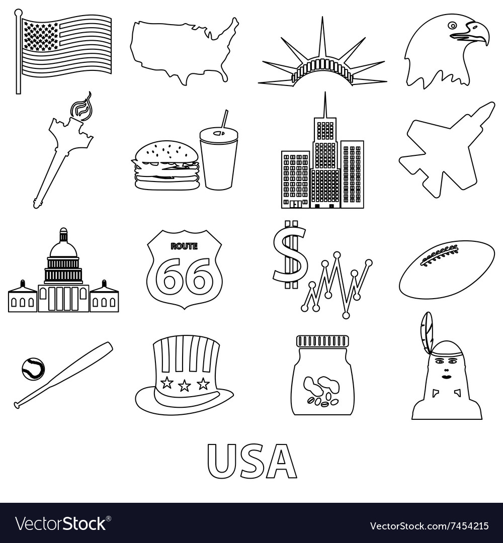 United states of america country theme outline vector