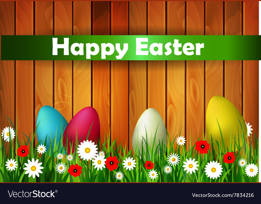 Easter card with wood texture vector