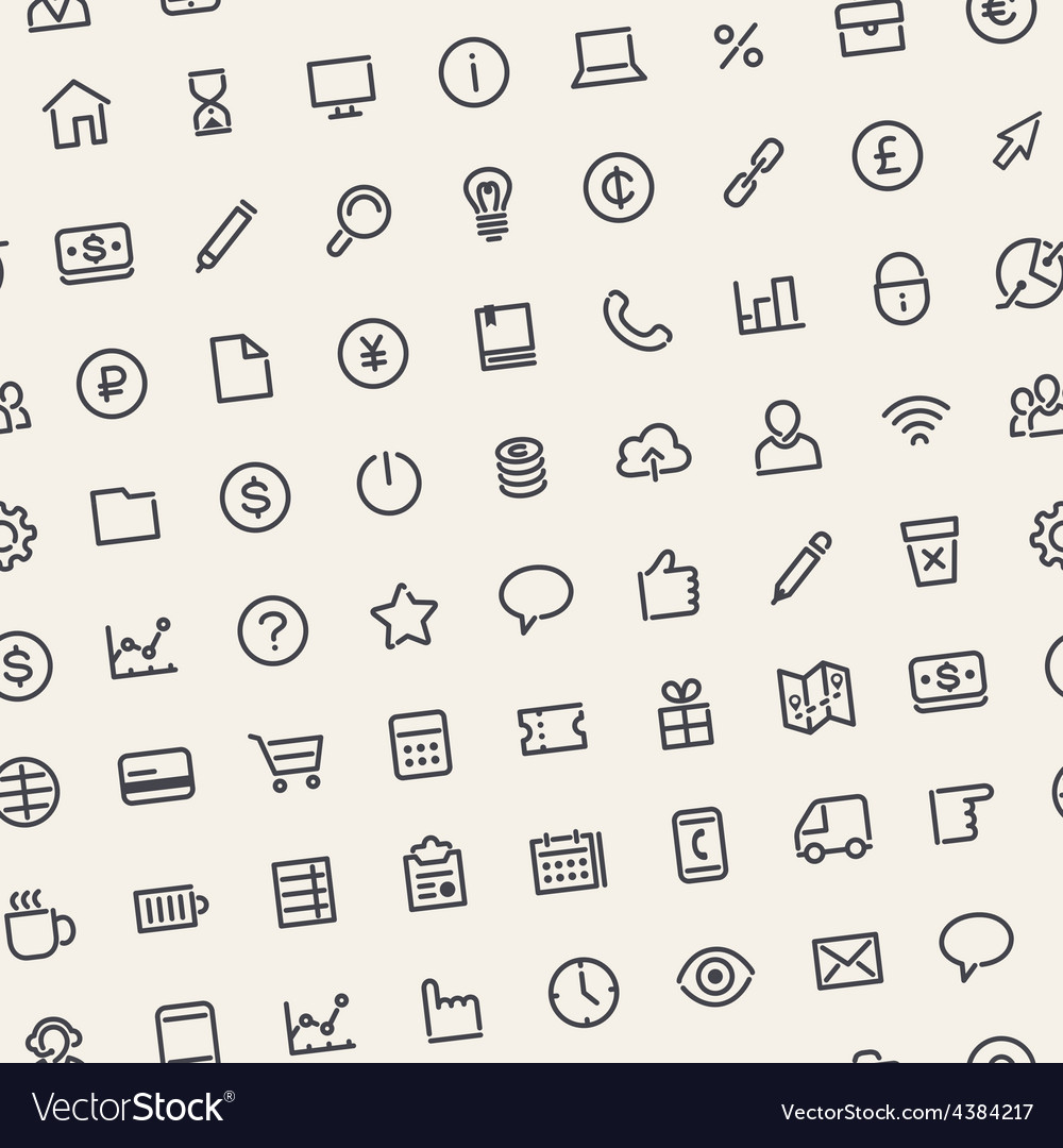 Light seamless business background with line icons vector