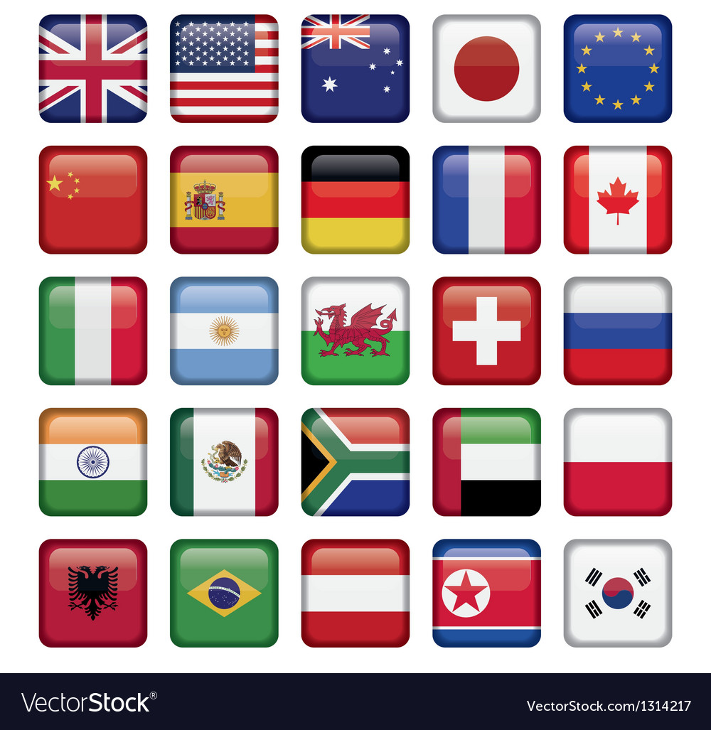 Set of flags world top states vector