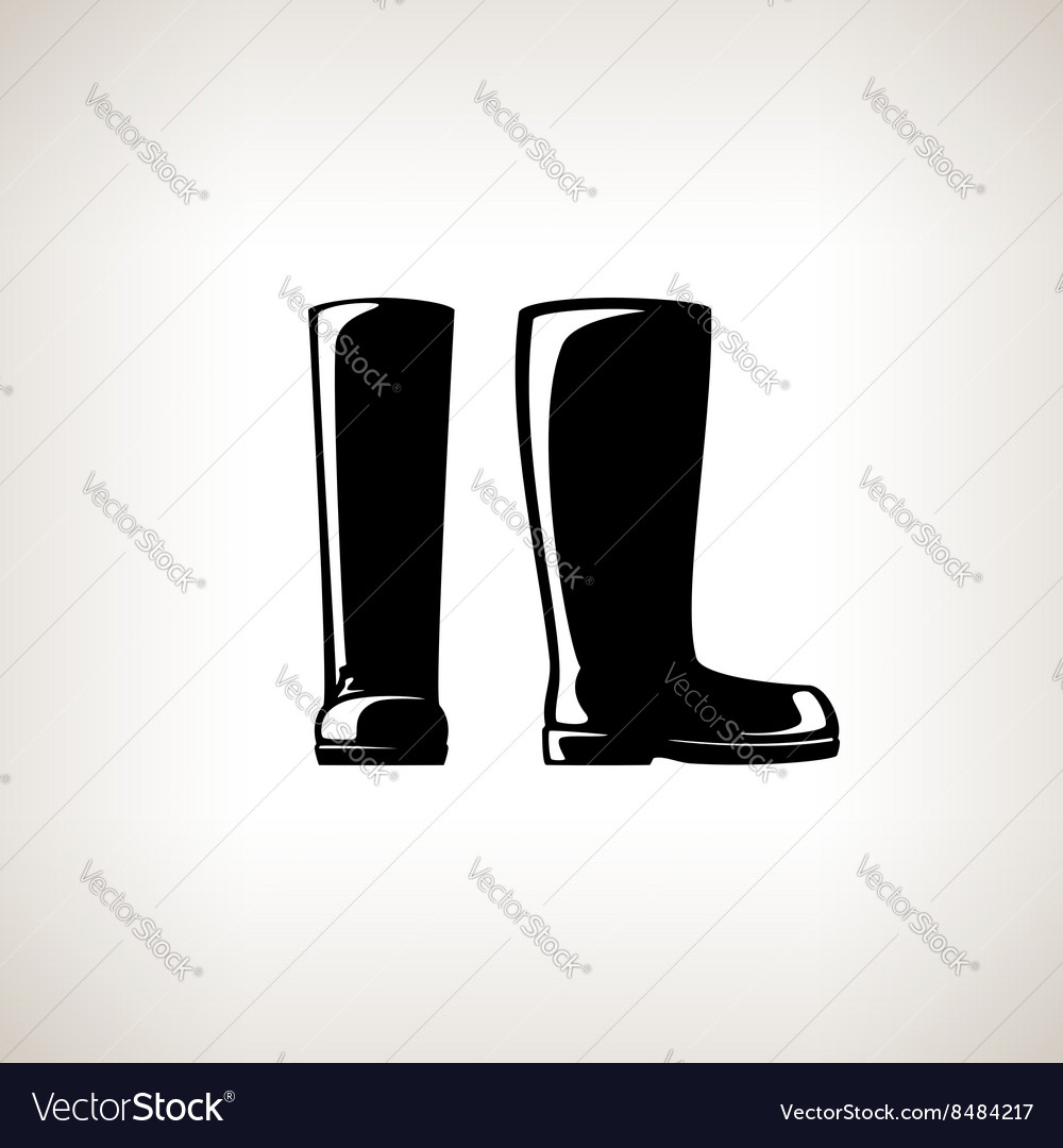 Silhouette working rubber boots vector