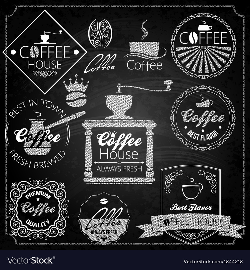 Coffee set elements chalkboard vector