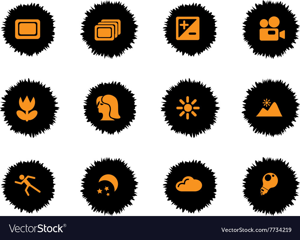 Photography silhouette icons vector
