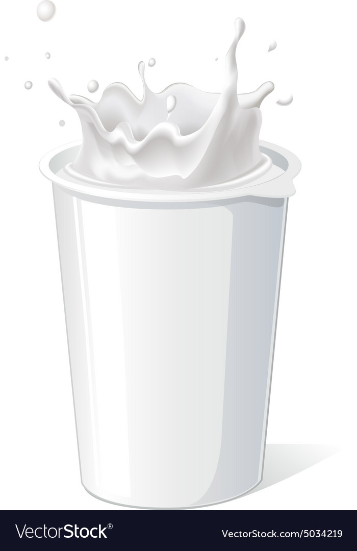 Plastic container for yogurt with splash  vector
