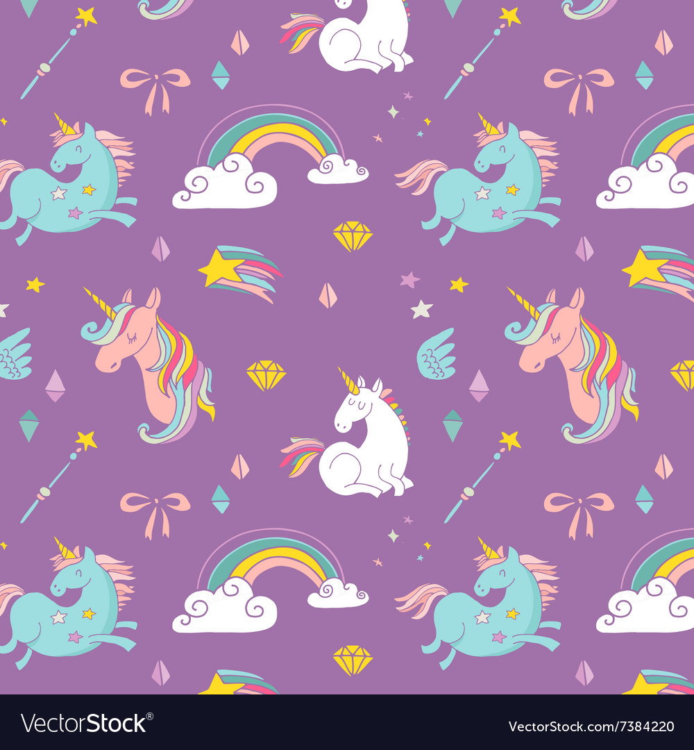 Magic hand drawn pattern  unicorn and fairy vector