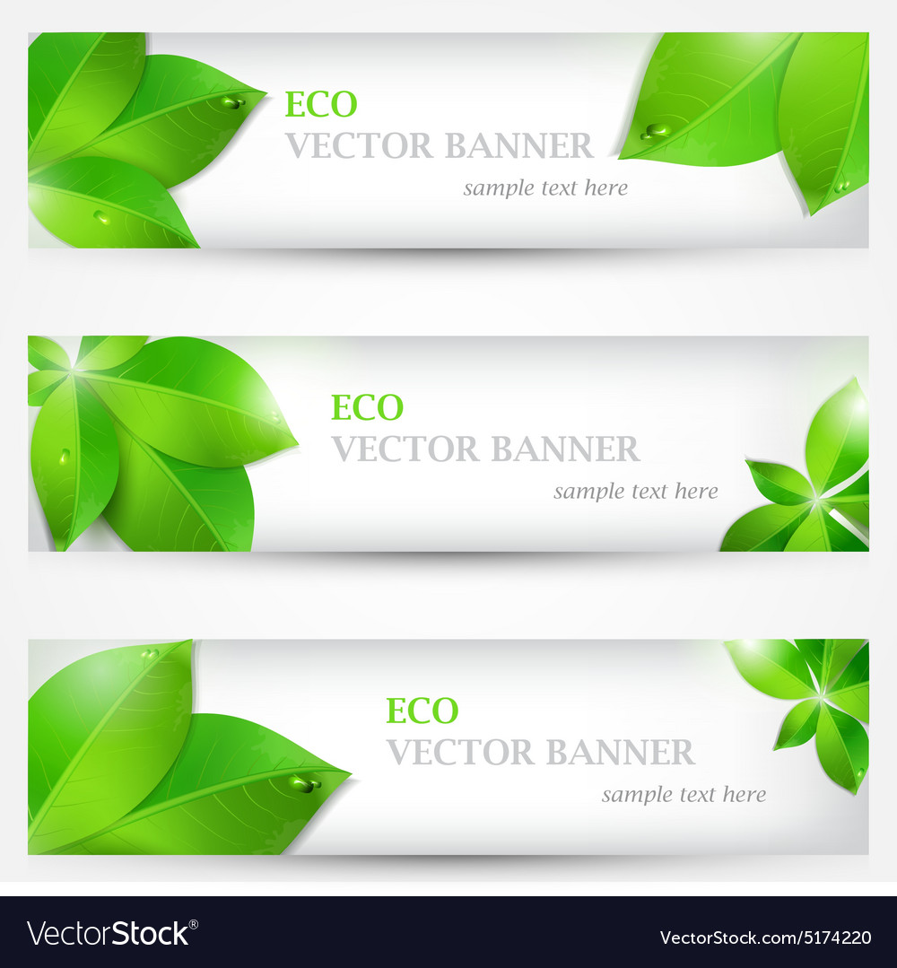 Set banner ecology colorful vector