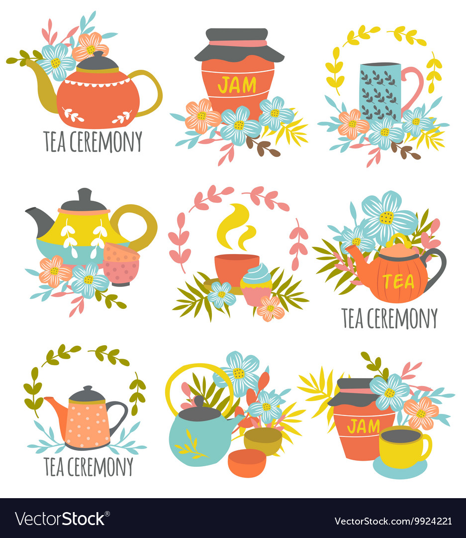 Tea ceremony hand drawn emblems vector