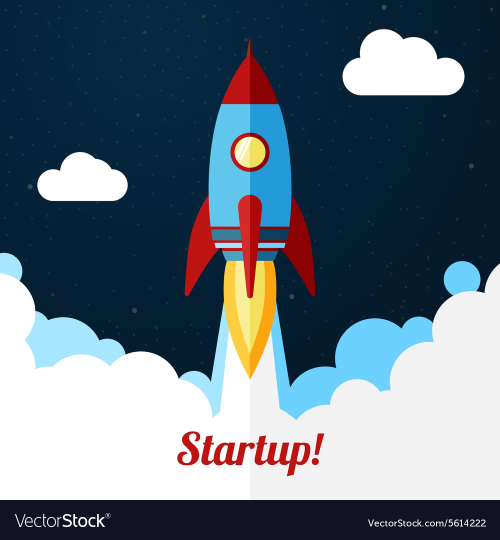 Space rocket launch concept for startups vector