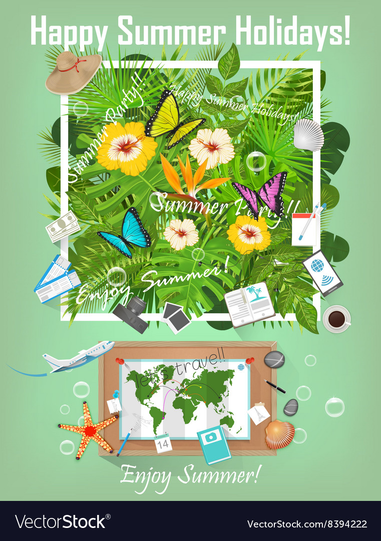 Summer background with tropical plants and flowers vector
