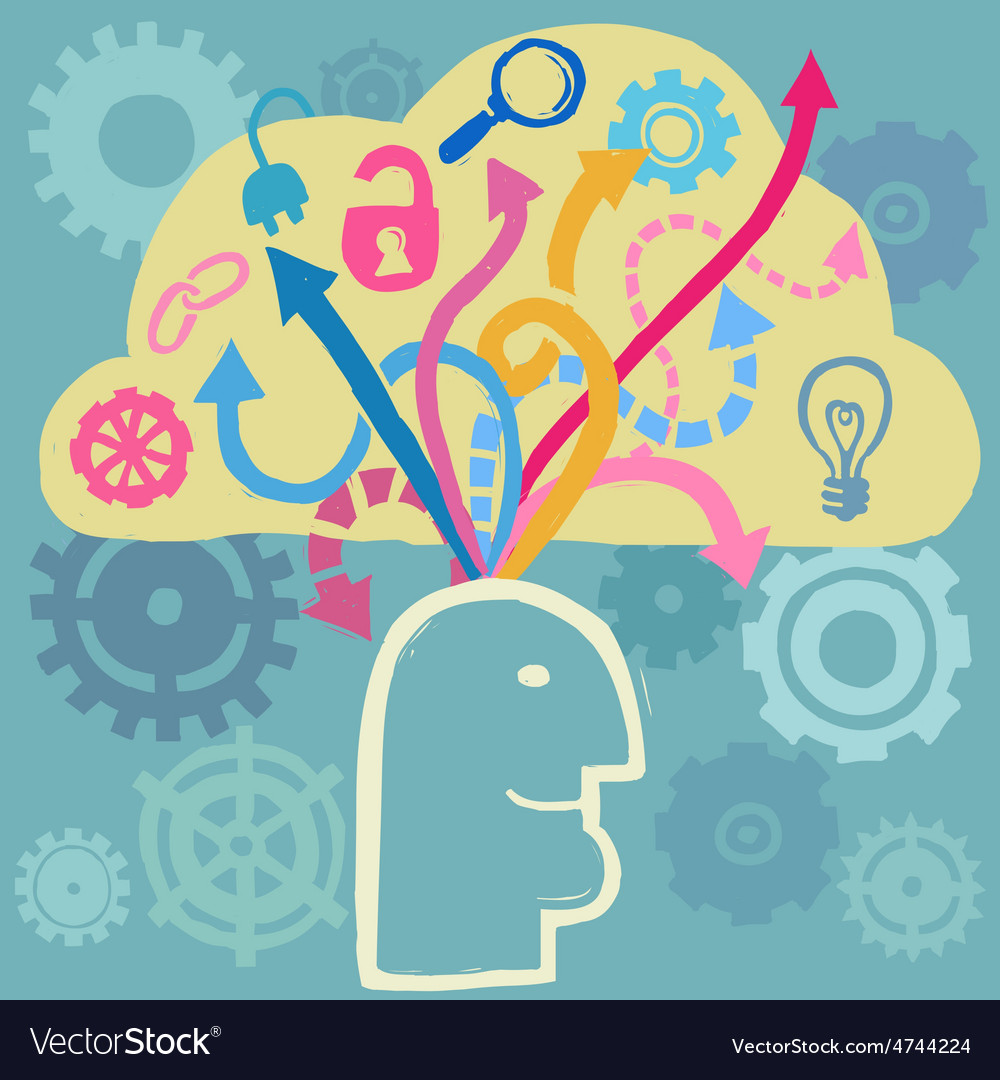 Brain and ideas flow vector