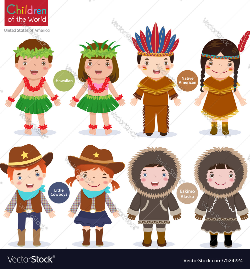 Children of the world usa hawaiian native american vector