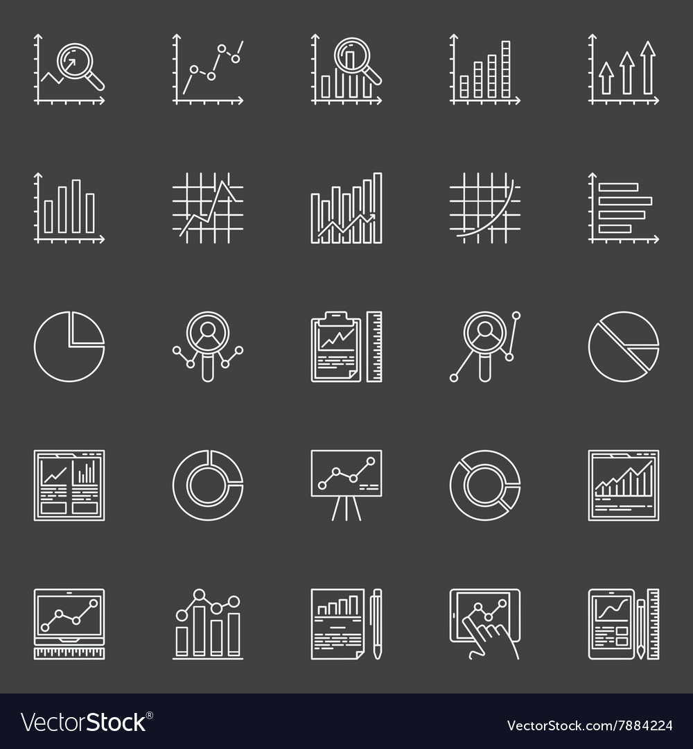 Data analysis white icons set vector