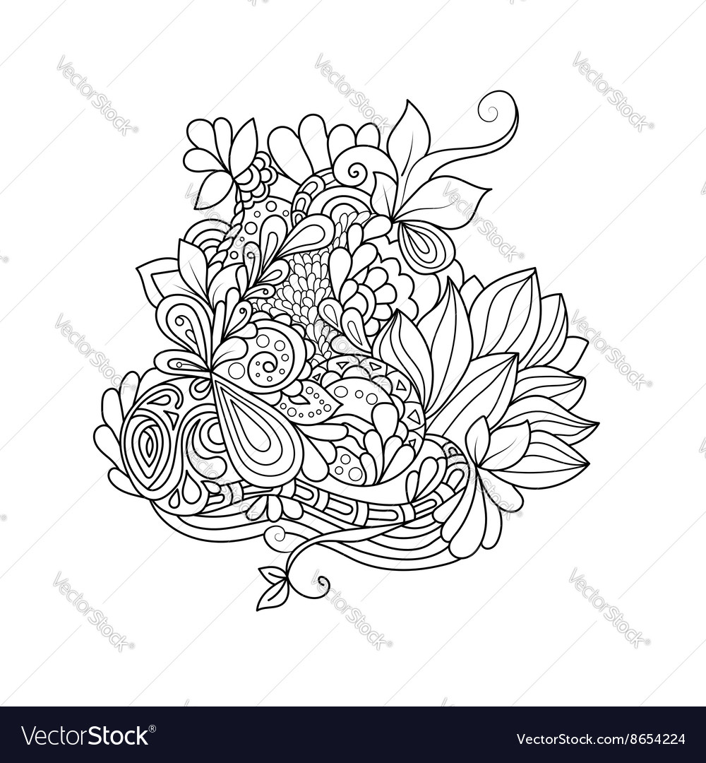 Zentangle floral pattern vector