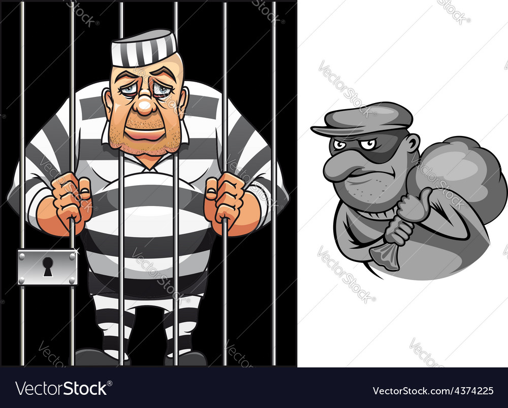 Cartoon prisoner in jail and robber in mask vector